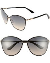 Women's Tom Ford Penelope 59Mm Gradient Cat Eye Sunglasses - Shiny Rose Gold/ Black