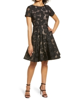 Shani Floral Fit & Flare Cocktail Dress, Size 6 in Black/Nude at Nordstrom