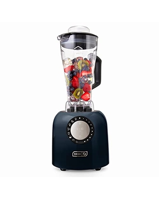 Dash Chef Series Deluxe 64 oz Blender with Stainless Steel Blades, Digital Display + USB Charging for Coffee Drinks, Fondue, Frozen Cocktails, Nut Butter, Soup, Smoothies & More, 1400-Watt – Black