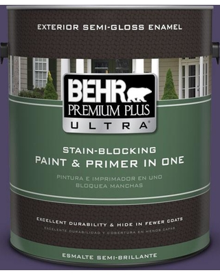 BEHR Premium Plus Ultra 1 gal. #S-H-650 Berry Charm Semi-Gloss Enamel Exterior Paint and Primer in One