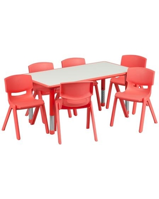 YU-YCY-060-0036-RECT-TBL-RED-GG 23.63''W x 47.25''L Adjustable Rectangular Red Plastic Activity Table Set with 6 School Stack