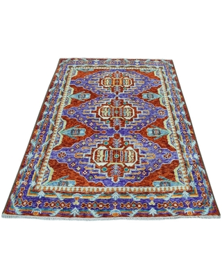 """Shahbanu Rugs Red Colorful Afghan Baluch Hand Knotted Tribal Design Pure Wool Oriental Rug (4'10"""" x 6'6"""") - 4'10"""" x 6'6"""" (Red - 4'10"""" x 6'6"""")"""