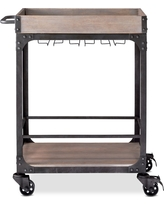 Franklin Bar Cart - Weathered Gray, Brown Gray