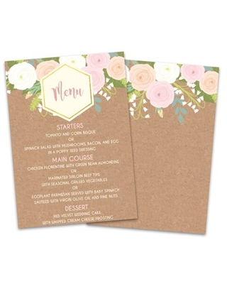 Personalized Floral Explosion Wedding Menu Card