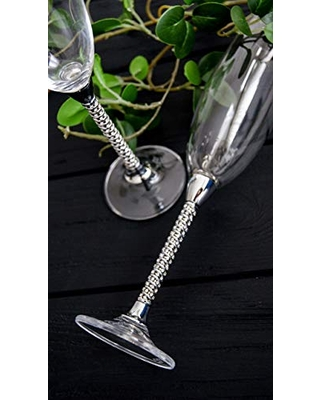Silver wedding glasses for bride and groom Swarovski wedding flutes sets Personalized champagne flutes Crystal wedding toasting glasses