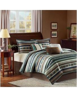 Madison Park Malone King 7 Piece Comforter Set in Blue - Olliix MP10-526