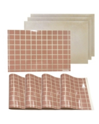 """Dainty Home Reversible Metallic Place Mats Non-Slip Square Up Criss Cross 12"""" x 18"""" Placemats - Set of 4"""
