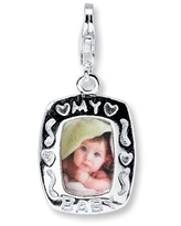 """""""My Baby"""" Photo Frame Sterling Silver Charm"""