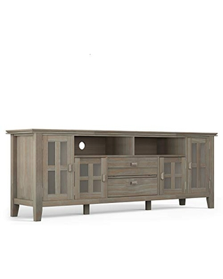 """SIMPLIHOME Artisan SOLID WOOD Universal TV Media Stand, 72 inch Wide, Contemporary,Entertainment Center, Storage Cabinet with Glass Doors, for Flat Screen TVs up to 80"""", Distressed Grey"""
