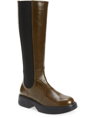 Wonders Knee High Leather Boot, Size 8-8.5Us in Olive at Nordstrom