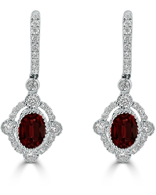 Auriya 7/8ct Fancy Oval-cut Garnet Halo Diamond Dangle Earrings 7/8ctw 18k Gold