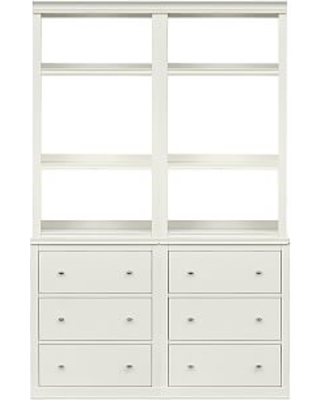 """Logan Bookcase with Drawers, Antique White, 48""""L x 75""""H"""