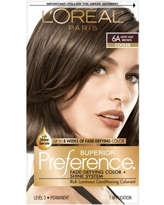 L'Oreal Paris Superior Preference Fade-Defying Shine Permanent Hair Color, 6A Light Ash Brown, 1 kit