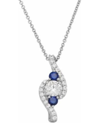 """DiamonLuxe Sterling Silver 1 1/3 Carat T.W. Simulated Diamond & Lab-Created Sapphire Pendant, Women's, Size: 18"""", White"""