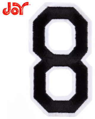 """Black Embroidered Iron-On Number 8 - 3"""""""