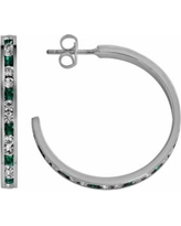 Traditions Sterling Silver Green and White Swarovski Crystal Hoop Earrings, Women's, multicolor