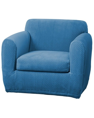 Stretch Modern Block Chair Slipcover Ocean Blue - Sure Fit