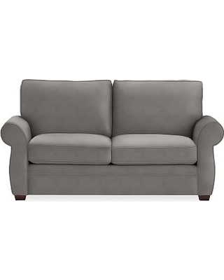 "Pearce Roll Arm Upholstered Loveseat 73"", Down Blend Wrapped Cushions, Sunbrella(R) Performance Slub Tweed Charcoal"