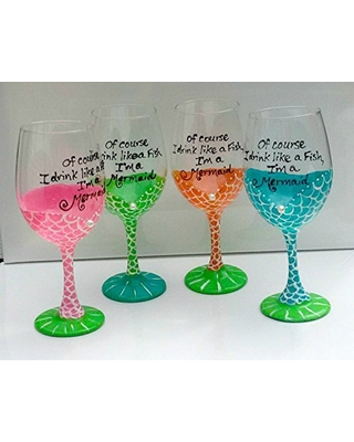 Of Course I Drink Like a Fish, I'm a Mermaid Hand Painted Wine Glasses Set of 4