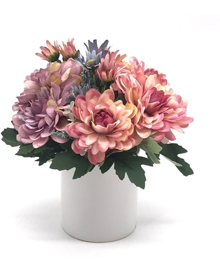 Enova Home Pink and Purple Silk Daisy and Mixed Flower Arrangements in White Ceramic Vase - pink and purple