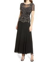 Pisarro Nights Embellished Mesh Bodice Evening Gown, Size 12 in Black/Mercury at Nordstrom