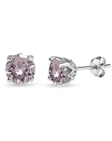Sterling Silver Pink 6mm Round Crown Stud Earrings Made with Swarovski Crystals