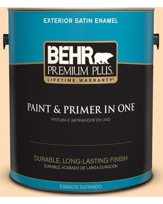 BEHR PREMIUM PLUS 1 gal. #290B-4 Feather Plume Satin Enamel Exterior Paint and Primer in One