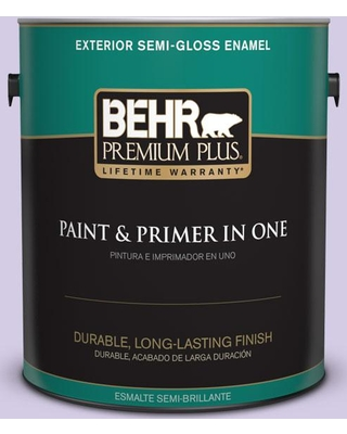BEHR PREMIUM PLUS 1 gal. #640A-3 Potentially Purple Semi-Gloss Enamel Exterior Paint and Primer in One