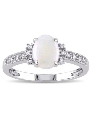 Miadora 10k White Gold Opal and Diamond Accent Cocktail Ring (G-H, I1-I2) (Size 7)