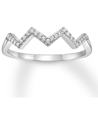 Diamond Stackable Ring 1/10 ct tw Round-cut 10K White Gold