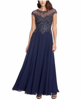 Xscape Embellished Embroidered Gown - Navy Blue/Gunmetal