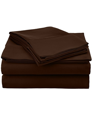 Pointehaven 500-Thread Count 100-Percent Egyptian Cotton Deep Fitted Queen Sheet Set, Chocolate