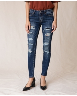 Kancan Mid Rise Super Skinny Distress Patch Jeans