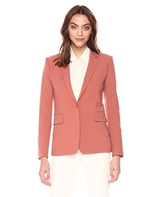 Theory Women's Classic ONE Button Essential Jacket, Pink Russet, 6