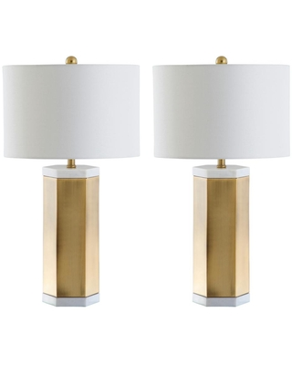 Safavieh Alya 28 in. White/Brass Gold Table Lamp with White Shade (Set of 2)
