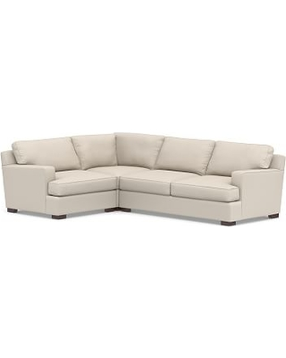 Townsend Square Arm Upholstered Right Arm 3-Piece Corner Sectional, Polyester Wrapped Cushions, Performance Brushed Basketweave Oatmeal