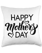 Happy Mothers Day Ideas and Apparel For Mom Happy Mother's Day 2021 Vintage Cute Women's Mom Throw Pillow, 18x18, Multicolor