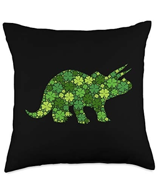 Saint Patrick's Day Dino Gifts Triceratops Dinosaur Lucky Shamrock Clover - St Patricks Day Throw Pillow, 18x18, Multicolor