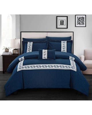 Chic Home Design King 8pc Mason Bed In A Bag Comforter Set Navy