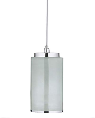 Urban Habitat MPS151-0063 Omni Modern Chrome Base, Glass Drum Shades Single Light Chandelier Pendant, See Below, White