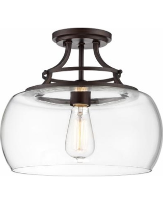 """Charleston Bronze 13 1/2"""" Wide Clear Glass LED Ceiling Light"""