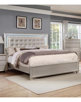 Mariano Collection MA800-Q Storage Queen Bed with LED with Epa Certified Champagne