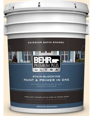 BEHR Premium Plus Ultra 5 gal. #icc-90 Butter Yellow Satin Enamel Exterior Paint and Primer in One