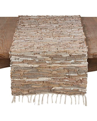 """SARO LIFESTYLE Natural Color Leather Chindi Table Runner-16 x72 Oblong, 16"""" x 72"""""""