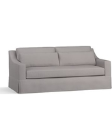 "York Slope Arm Slipcovered Deep Seat Sofa 80"" with Bench Cushion, Down Blend Wrapped Cushions, Performance Twill Metal Gray"