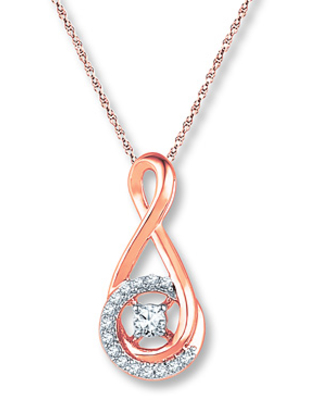 Diamond Infinity Necklace 1/8 ct tw Round-cut 10K Rose Gold