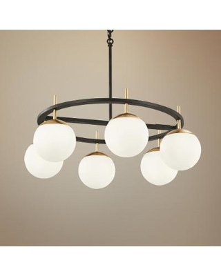 "Alluria 27""W Weathered Black and Autumn Gold 6-Light Pendant"
