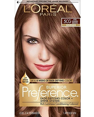 L'Oreal Paris Superior Preference Fade-Defying + Shine Permanent Hair Color, 5CG Iced Golden Brown, Pack of 1, Hair Dye