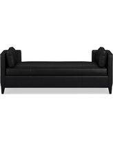 Presidio Settee, Down Blend Cushion, Leather, Solid, Black