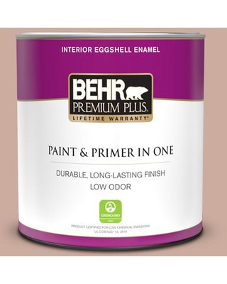 BEHR PREMIUM PLUS 1 qt. #MQ1-50 Art Deco Pink Eggshell Enamel Low Odor Interior Paint and Primer in One